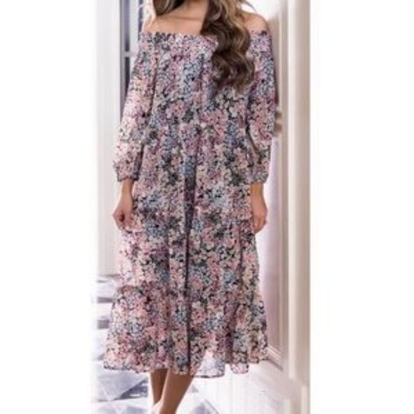 Floral off the shoulder flowy tiered midi dress
